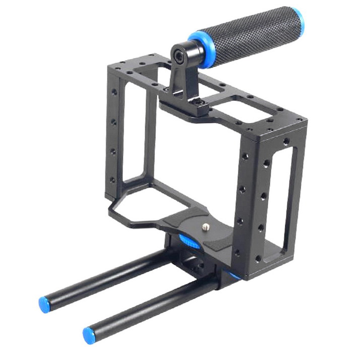 YELANGU C1 Aluminum DSLR Camera Cage Kit Support for Canon 5D Mark II / 7D / 60D 15mm - Black + BlueTripods and Holders<br>Form ColorBlack + BlueModelC1MaterialAluminum AlloyQuantity1 DX.PCM.Model.AttributeModel.UnitTypeOthers,Camera cageRetractableNoMax.Load5 DX.PCM.Model.AttributeModel.UnitPacking List2 x 15mm Aluminum Rods 1 x Cage Frame4 x Metal Screws 2 x Hexagon Wrenches1 x Carry Handle<br>