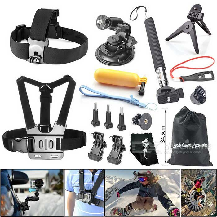 16-in-1 Outdoor Sports Camera Accessories Kit for GoPro Hero 1~4 / 4 Session, SJCAM, Xiaoyi - BlackOther Accessories<br>Form ColorBlackMaterialPlasticQuantity1 DX.PCM.Model.AttributeModel.UnitCompatible BrandGopPro, SJCAM, XiaoyiCompatible ModelGoPro Hero, SJ4000~6000, Xiaoyi Sports CamerasPacking List1 x Headband1 x Chest strap1 x Floating grip mount1 x Plastic spanner2 x Tripod mount adapters3 x Long screw bolts 2 x Vertical surface J-hook buckles1 x Strong car suction cup mount holder1 x Retractable handheld monopod (extended length: 105cm)1 x Tripod1 x Cleaning cloth1 x Bag<br>