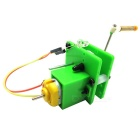 Mini Hand Crank Dynamo Generator DIY Kit Educational Toy w/ LED - Green + White