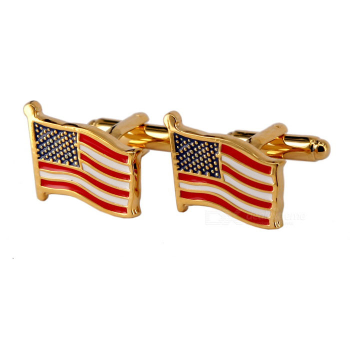 Buy Jewelry Brass Material Waving Flags Shape Cufflinks - Golden + Red (Pair) with Litecoins with Free Shipping on Gipsybee.com