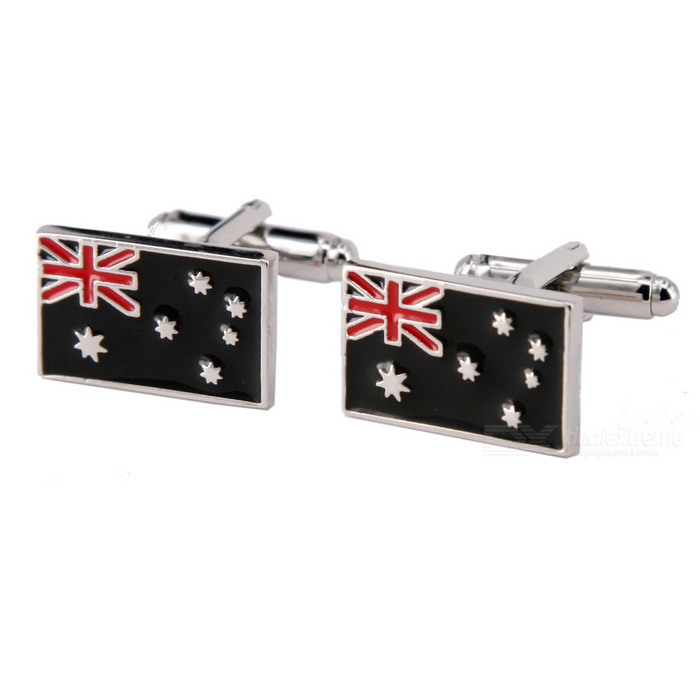 Buy Jewelry Brass Material Flags Shape Cufflinks - Silver + Multicolored (Pair) with Litecoins with Free Shipping on Gipsybee.com