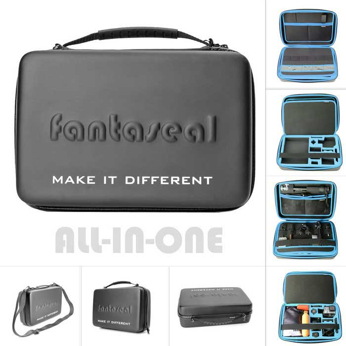 Fantaseal 13 Luxury Waterproof Dual-layer EVA Anti-Shock Protective Case for GoPro Hero4/4S/3+/3Bags &amp; Cases<br>Form ColorBlack + BlueModelAIO-13P2Quantity1 DX.PCM.Model.AttributeModel.UnitMaterialEVA, PUShade Of ColorBlackCompatible ModelsOthers,GoPro Hero 1,GoPro Hero 2,GoPro Hero 3,GoPro Hero 3+,GoPro Hero 4,SJCAM, XIAOMI XIAOYI, SONY + more action camerasWater ResistantFor daily wear. Suitable for everyday use. Wearable while water is being splashed but not under any pressure.Anti-ShockYesSizeOthers,13Dimension32*23*11 DX.PCM.Model.AttributeModel.UnitInner Dimension30*21*9cmPacking List1 x EVA Case1 x Hand strap1 x Shoulder Strap<br>