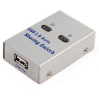 Cwxuan USB 2.0 Sharing Switch Hub / 2 PC a 1 stampante / scanner Scambio di rete Switcher Box - argento
