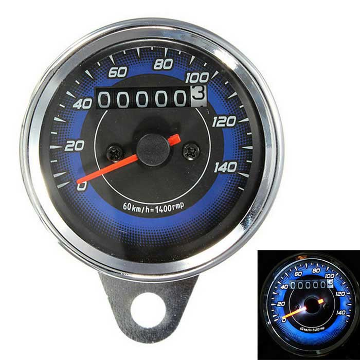 IZTOSS Motorcycle LED Odometer &amp; 0~140Km/h Tachometer Meter Gauge - Black + SilverOthers<br>Form ColorBlack + Silver + Multi-ColoredQuantity1 DX.PCM.Model.AttributeModel.UnitMaterialStainless steelWaterproof FunctionYesOther FeaturesVolt: 12V DC<br>Odometer measurement: 0~140km/hPacking List1 x Motorcycle Odometer Speedometer<br>