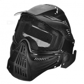 Outdoor-CS-War-Game-Full-Cover-Protection-Mesh-Face-Mask-Headgear-Black
