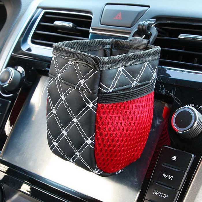 Buy ZIQIAO Multifunctional Car Storage Bag Mobile Phone Pouch - Black + White with Litecoins with Free Shipping on Gipsybee.com