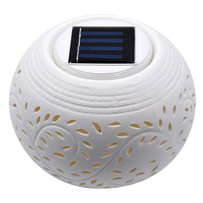 0.12W 10lm RGB Solar Ceramic Lamp - White