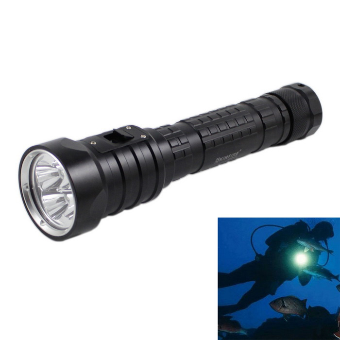 KINFIRE KF-D44 K400S 4-L2 3200lm IPX8 Diving Flashlight - Black + Silver (2*18650 / 26650 Battery)Diving Flashlights<br>Form  ColorBlack + SilverModelKF-D44Quantity1 DX.PCM.Model.AttributeModel.UnitMaterialAluminumEmitter BrandOthers,OtherLED TypeOthers,OtherEmitter BINU2Color BINCold WhiteNumber of Emitters4Theoretical Lumens4400 DX.PCM.Model.AttributeModel.UnitActual Lumens2400 DX.PCM.Model.AttributeModel.UnitPower Supply2*18650 or 26650 Battery (not included)Working Voltage   7.2~8.4 DX.PCM.Model.AttributeModel.UnitCurrent1800~2240 DX.PCM.Model.AttributeModel.UnitRuntime3~4 DX.PCM.Model.AttributeModel.UnitNumber of Modes1Mode ArrangementHiMode MemoryNoSwitch TypeForward clickySwitch LocationHeadLens MaterialOptical lensesReflectorAluminum SmoothWorking Depth Underwater120 DX.PCM.Model.AttributeModel.UnitStrap/ClipStrap includedPacking List1 x Diving Flashlight11 x Strap (20cm)2 x Cell tubes<br>