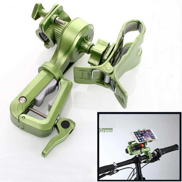 Rotating Bicycle Stand Mount Holder for Phone, Flashlight - GreenBike Holder<br>Form  ColorGreenModelCJ-08AQuantity1 DX.PCM.Model.AttributeModel.UnitMaterialABSBest UseCycling,Recreational Cycling,Road Cycling,Bike commuting &amp; touringTypeFlashlight Holders,Phone HoldersOther FeaturesThe only device which can hold both cell phone and flashlight at the same time;<br>Most widely used for cell phone; Support<br>360 degrees rotation, much more convenient when outdoor riding<br>High purity anti-slip &amp; anti-scratch rubber material for better protection for the cell phone<br>Torch bracket is detachable and easy to assemble<br>Freely adustable angle for the flashlightPacking List1 x Multifunctional bicycle holder<br>