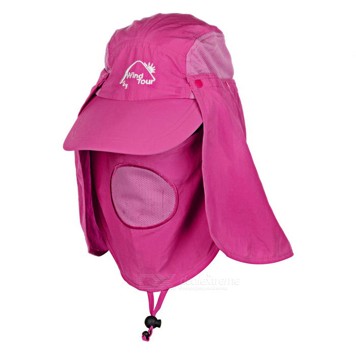 Buy Wind Tour Outdoor 360 Degree Protection Quick-drying Breathable Anti-UV Sunhat - Dark Pink with Litecoins with Free Shipping on Gipsybee.com