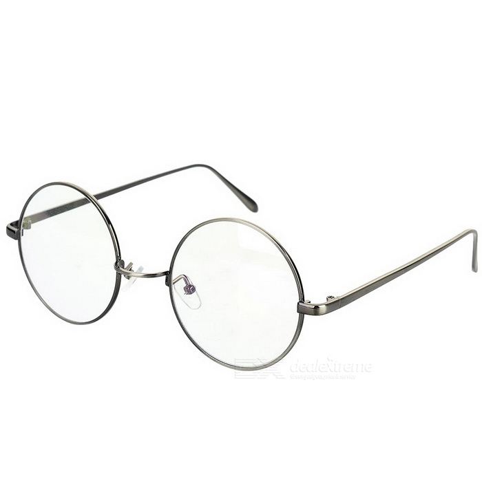 Buy Unisex Retro Round Zinc Alloy Frame PC Lenses Plain Spectacles Glasses Eyeglasses - Gun Grey with Litecoins with Free Shipping on Gipsybee.com