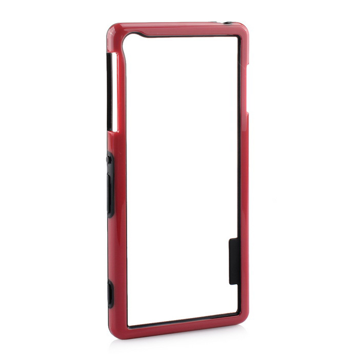Stylish TPU Protective Frame Case for Sony Z3 - Black + Red
