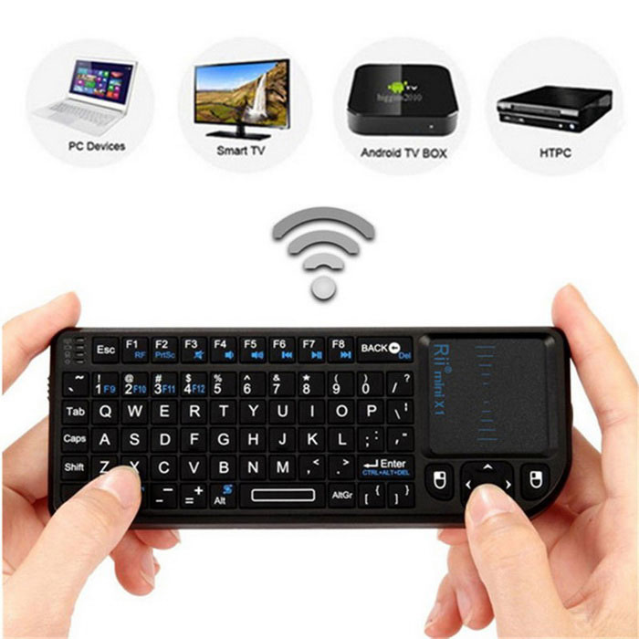 Rii RT-MWK01(X1) Mini 2.4GHz Wireless Keyboard w/ Mouse & Touchpad - Black