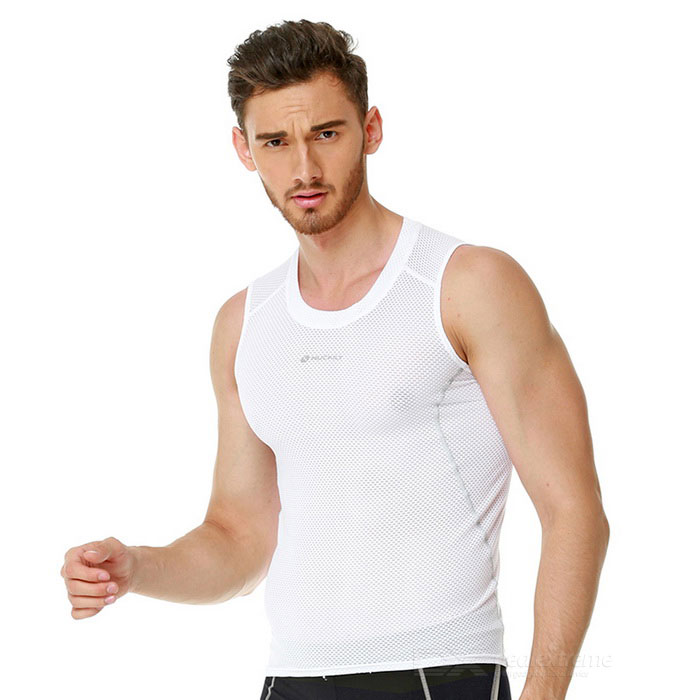 NUCKILY Men's Outdoor Cycling Quick-drying Breathable Base Shirt Vest - White