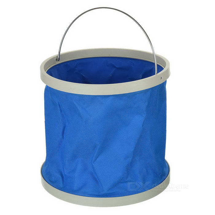 Outdoor Camping Folding Collapsible Water Tank Container Carrier Bucket - Blue + White (9L)