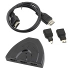 Mikro / Mini HDMI / HDMI 3-Port HDMI MF Switcher Cable - Black