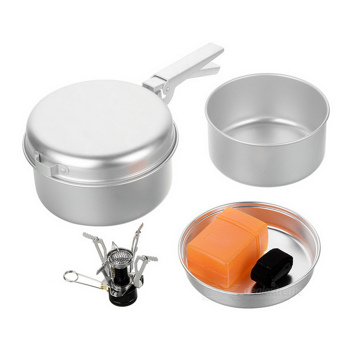 Outdoor Camping Picnic Cooking Pans Pots + Mini Burner Stove Set for 2~3 Person - SilverForm  ColorSilverModel550UQuantity1 DX.PCM.Model.AttributeModel.UnitMaterialAluminumBest UseCamping,Mountaineering,Travel,CyclingStove TypePots, pans, burnerTypeCamp Stoves,Pots &amp; PansPacking List2 x Pots2 x Pans1 x Handle1 x Mini burner<br>