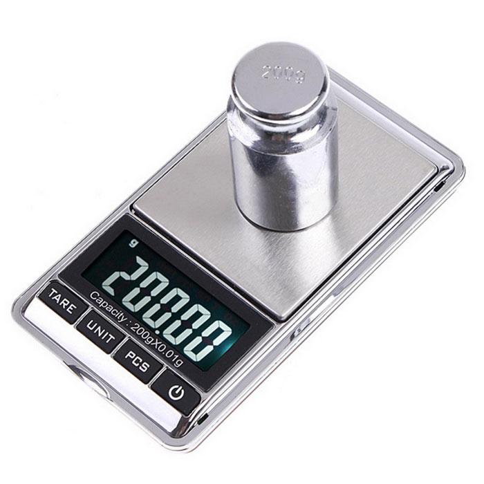 200g x 0.01g Mini Digital Jewelry Pocket Scale - Silvery White + BlackDigital Scales<br>Form  ColorSilver White + BlackModel-Quantity1 DX.PCM.Model.AttributeModel.UnitMaterialABSTypeJewelry ScaleScreen Size1.5inchMax. Weight200gMin. Weight0.01gUnitg,ct,oz,dwt,gnDivision0.01gOperating Temperature10-30Auto Power OffYesPowered ByAAA BatteryBattery included or notNoPacking List1 x Mini Digital Jewelry Balance Pocket Scale1 x Protective pouch1 x English user manual<br>
