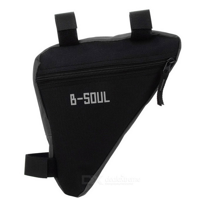 B-SOUL Outdoor Cycling Quick-Release Triangular Bike Bicycle Bag - Black (1L)Bike Bags<br>Form  ColorBlackQuantity1 DX.PCM.Model.AttributeModel.UnitMaterialOxford clothTypeOthers,Bike bagCapacity1 DX.PCM.Model.AttributeModel.UnitWaterproofNoBest UseCycling,Mountain Cycling,Recreational Cycling,Road CyclingOther FeaturesEasy installation and quick release.CertificationCEPacking List1 x Bike bag<br>