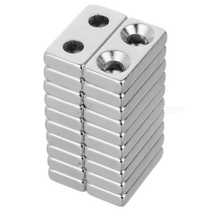 20*10*4mm Square NdFeB Magnet w/ 4mm Holes - Silver (20PCS)