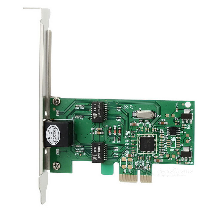 PCI-E 1000Mbps Computer PC Ethernet Network Card Adapter - Green + Black