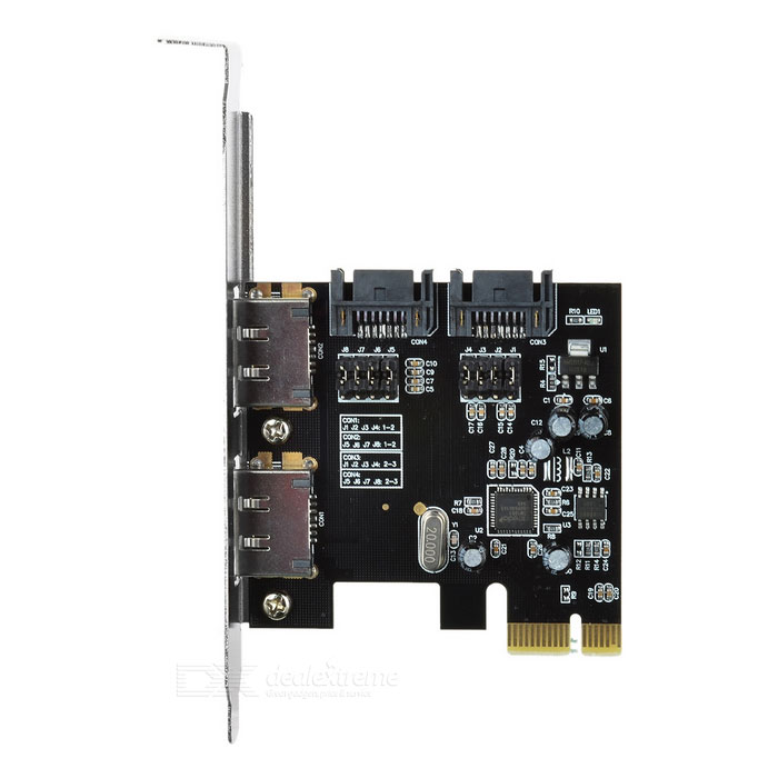 PCIe to SATA eSATA RAID Card Expansion Card Adapter - Black + Silver