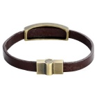 Retro Feather Pattern Cow Split Leather + Zinc Alloy armbånd Bangle - Brun