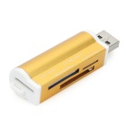 USB 2.0 SD / MS / TF / M2 Card Readers - Golden Yellow (4 stk)