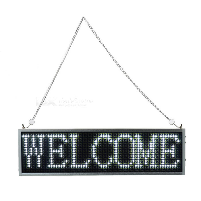 34cm White LED Message Display Panel w/ USB Cable (US Plugs)USB Lights<br>Form ColorSilver + BlackQuantity1 DX.PCM.Model.AttributeModel.UnitMaterialAluminum alloy + LED + ABSShade Of ColorWhiteLight ColorWhiteLED QtyNonePowered ByAC Charger,USBPacking List1 x Display panel1 x US plug power cable (100~240V / 85cm)1 x USB data cable (80cm)1 x CD1 x Iron chain<br>
