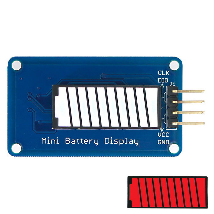 Battery Style Digital Tube LED Battery Level Display Module Red Color 10-segment LED Bar for ArduinoLCD, LED Display Module<br>Form ColorBlue + RedModelN/AQuantity1 DX.PCM.Model.AttributeModel.UnitMaterialPCB + Alloy + PlasticScreen TypeOthers,LEDScreen Size1 DX.PCM.Model.AttributeModel.UnitResolutionOthers,N/AWorking Voltage   3.3~5.5 DX.PCM.Model.AttributeModel.UnitWorking Current20 DX.PCM.Model.AttributeModel.UnitEnglish Manual / SpecYesDownload Link   http://pan.baidu.com/s/1hqXdDu0Packing List1 x Module<br>