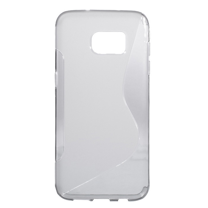 """S"" Style Protective TPU Back Case for Samsung Galaxy S7 Edge - Translucent Gray"