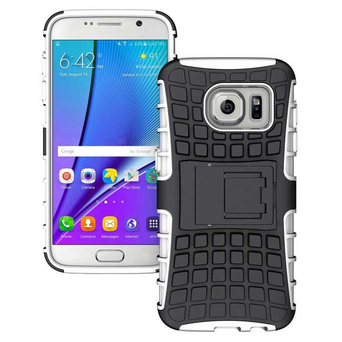 Armour Style Protective TPU Back Case w/ Stand for Samsung Galaxy S7 Edge - White + BlackTPU Cases<br>Form  ColorWhite + BlackQuantity1 DX.PCM.Model.AttributeModel.UnitMaterialTPUShade Of ColorWhiteCompatible ModelsSamsung Galaxy S7 EdgeDesignMixed Color,With StandStyleBack CasesPacking List1 x Case<br>