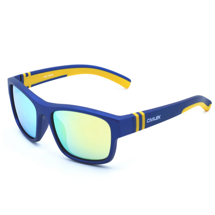Buy CAALEX KLX-105 Children's Yellow REVO Lens Sunglasses - Blue + Yellow with Litecoins with Free Shipping on Gipsybee.com