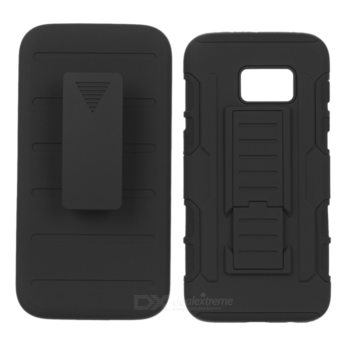 3-in-1 Hard Armor Case w/ Belt Clip for Samsung Galaxy S7 - Black