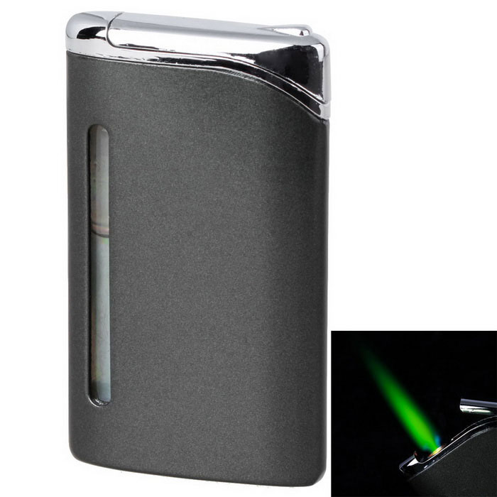 Buy Fashion Green Flame Business Refilled Butane Gas Lighter - Black with Litecoins with Free Shipping on Gipsybee.com