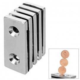 50*20*5mm Square NdFeB Magnet w/ 4mm Holes - Silver
