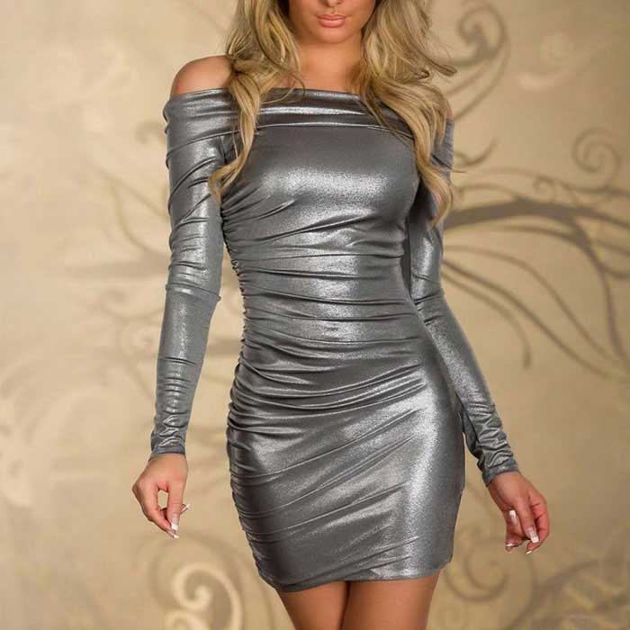 Tight-Fitting Long-Sleeve Hip Package Off Collar Dresses