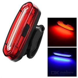 USB Powered Red + Blue 15-LED Bike Tail Light w/ Clip - Red + White