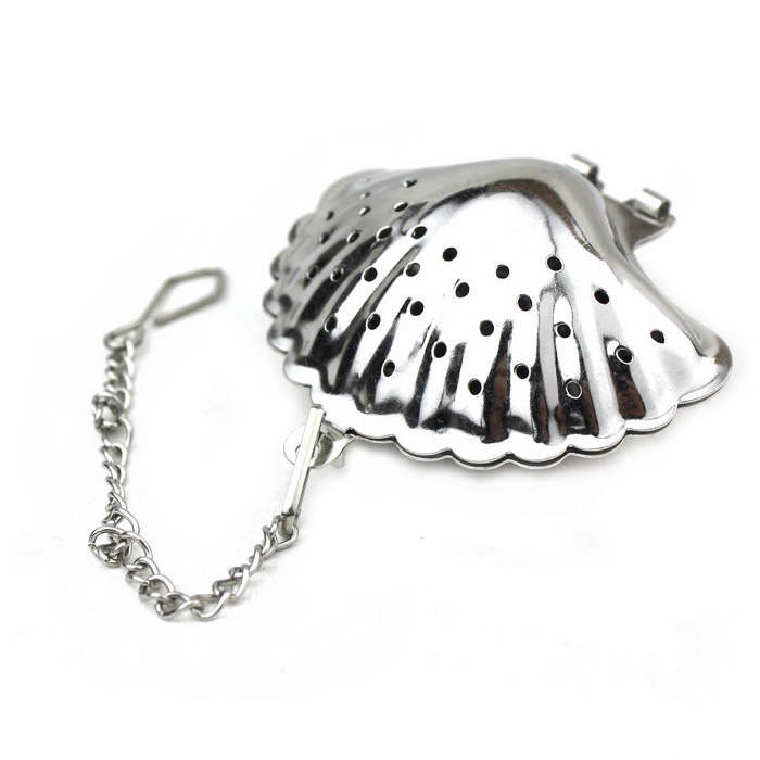 Shell Style Stainless Steel Tea Strainer Infuser - Silver
