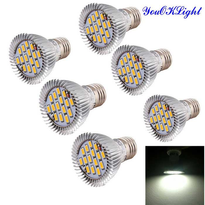 YouOKLight E27 7.5W Spot Light Bulb 720lm 15-SMD 5630 LED (6PCS)E27<br>Form  ColorOthers,SilverColor BINCold WhiteMaterialAluminumQuantity1 DX.PCM.Model.AttributeModel.UnitPowerOthers,7.5WRated VoltageAC 85-265 DX.PCM.Model.AttributeModel.UnitConnector TypeE27Emitter TypeOthers,5630 SMD LEDTotal Emitters15Actual Lumens720 DX.PCM.Model.AttributeModel.UnitColor Temperature6000KDimmableNoPacking List6 x LED Spot Light Bulbs<br>