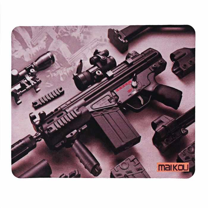 Buy MAIKOU 180*220mm Submachine Gun Pattern Mouse Pad Mat - Brown with Litecoins with Free Shipping on Gipsybee.com