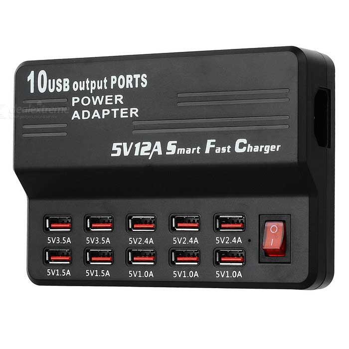 10-Port USB Quick Charger Smart Fast Charger - Black (US Plugs)USB Hubs &amp; Switches<br>Form ColorBlackQuantity1 DX.PCM.Model.AttributeModel.UnitMaterialABSShade Of ColorBlackIndicator LightNoPort Number10Spacing0.7cmCurrent Output1A / 1.5A / 2.4A / 3.5AWith Switch ControlYesInterfaceUSB 2.0Transmission Rate480 DX.PCM.Model.AttributeModel.UnitPowered ByAC ChargerSupports SystemWin xp,Win 2000,Win vista,Win7 32,Win7 64,Win8 32,Win8 64,MAC OS X,IOS,Linux,Android 2.x,Android 4.xPacking List1 x USB charger1 x US plug charging cable (123+/-2cm)<br>