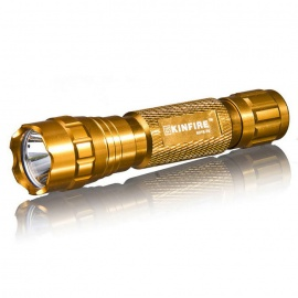 KINFIRE K01K XM-L T6 Flashlight w/ Clip, 18650 Batery Charger - Gold
