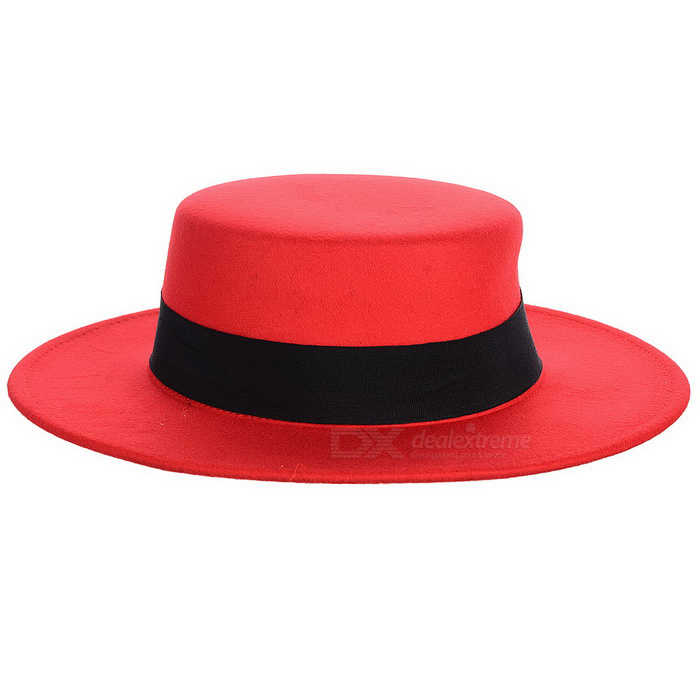 Vintage Flat Top Wide Brim Round Wool Felt Fedora Hat - Red - Free Shipping  - DealExtreme aa59d12b8ea