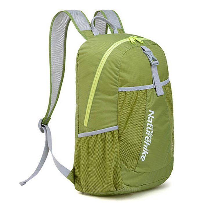 NatureHike NH15A119-B 22L Hiking Daypack Folding Backpack - GreenForm  ColorGrass GreenBrandNatureHikeModelNH15A119-BQuantity1 DX.PCM.Model.AttributeModel.UnitMaterial100% chinlonTypeHiking &amp; CampingGear Capacity22 DX.PCM.Model.AttributeModel.UnitCapacity Range20L~40LRaincover includedNoBest UseRunning,Climbing,Family &amp; car camping,Mountaineering,Travel,CyclingTypeHiking DaypacksPacking List1 x Backpack<br>