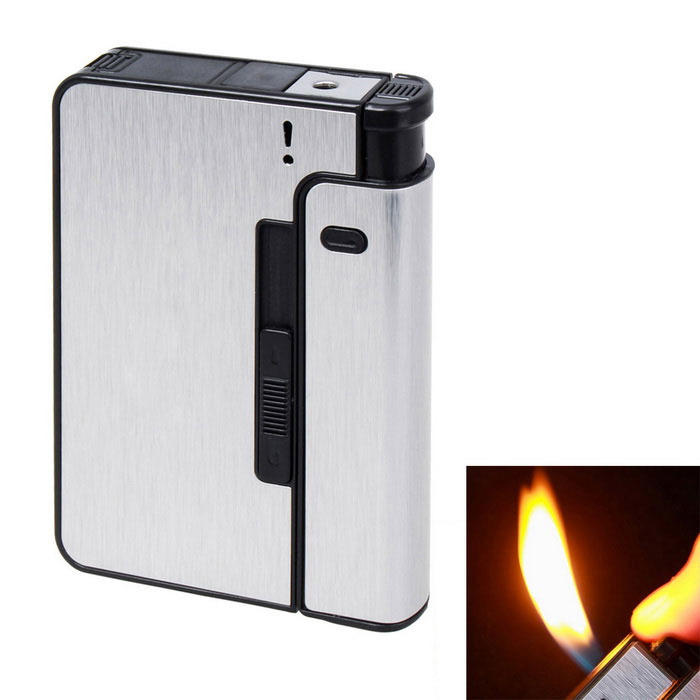 Automatic 10 Sticks Cigarettes Case &amp; Lighter Creative Gift - SilverButane Jet Lighters<br>Form ColorSilverModelN/AMaterialAlloy + ABSQuantity1 DX.PCM.Model.AttributeModel.UnitShade Of ColorSilverTypeGasFlame ColorYellowWindproofNoFuelGasPacking List1 x Cigarette Case &amp; Lighter<br>