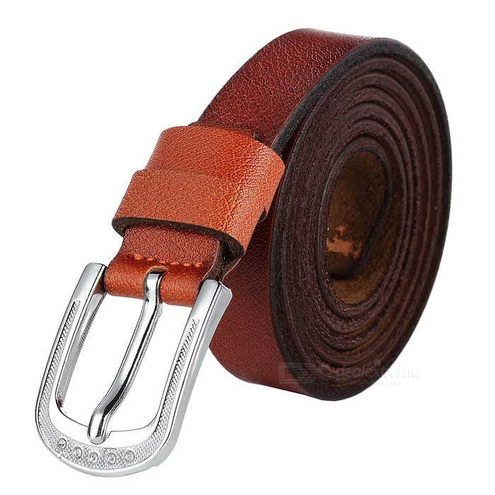 Naisten 2.3cm Cow haljasnahka Kapea Belt w / pin solki - Brown