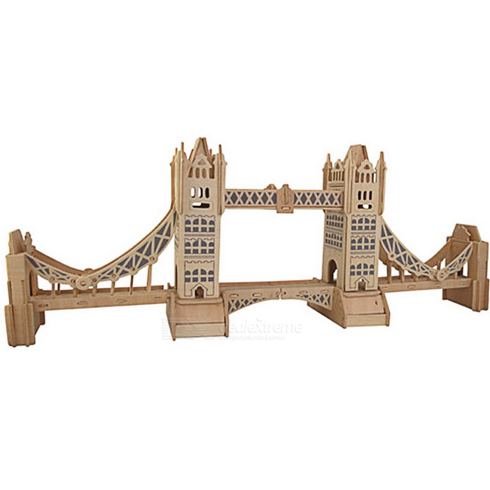 G-P055 DIY Montering Tower Bridge Modell Toy - Träfärg + Blå