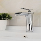 Modern Style Single Handle Single Hole Bathroom Sink Faucet - Silver
