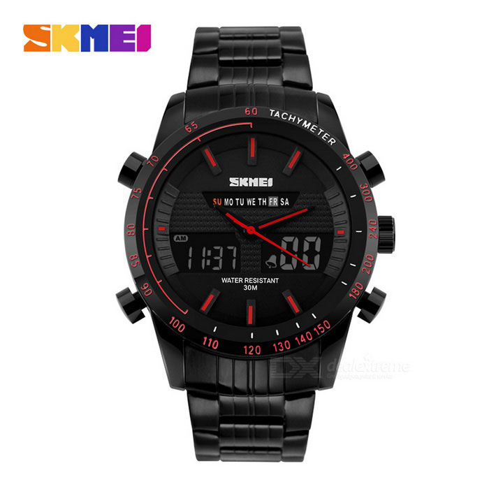 Buy SKMEI Dual Display Men's Watch - Black + Red (1*CR2025 / 1*SR626SW) with Litecoins with Free Shipping on Gipsybee.com